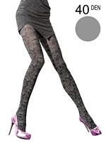 Fiore - Patterned Tights Doriana Light Grey