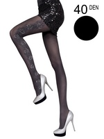 Fiore - Patterned Tights Josephine Black