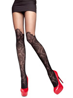 Fiore - Patterned Tights Taya Black